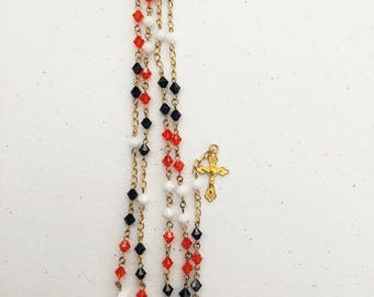 6mm Swarovski bicone blue, orange, and white bead rosary with Sacred Heart center