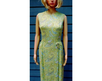 Vintage 1960's Mod Lime Green and Blue Paisley Print  Wiggle Dress/Cotton Linen Twill Metal Zipper Vintage Size 11 Current Size Small