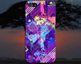 Tye Dye Geometric Elephants x White Stripes Case, iPhone 7, iPhone 7 Plus, Protective iPhone Case, Galaxy s8, Samsung Galaxy, CASE ESCAPE