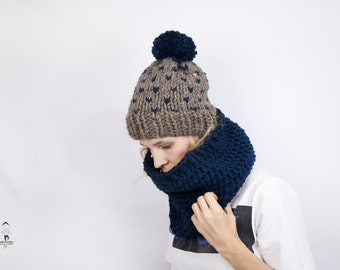 Fair Isle Beanie and Cowl Set - Chunky Knit Cowl Scarf & Beanie - Pull on Snood - Knitted Cowl - Snug Neckwarmer in Brown and Navy