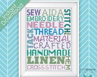 Sewing Typography Cross Stitch Pattern