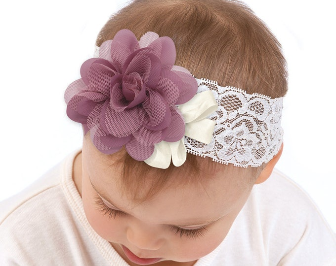Baby Girl Headband, Newborn Girl Headband, Newborn Girl Outfit, Baby Girl Bow, Purple Flower, Lace Headband, Baby Girl Accessories