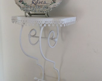 French Wall Shelf, Cottage Chic Display Shelf, White Iron Wall Sconce