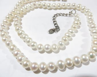 Beautiful Vintage LUG Pearl Sterling Silver Necklace