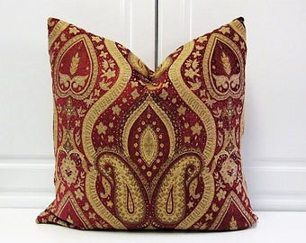 Decorative Pillow Cover- Burgundy & Gold Chenille- 18x18-Last One!