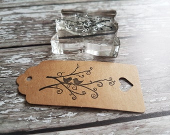 Rubber Stamps tree love birds ideal for wedding favour tags and gift tags