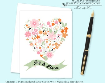 Free Ship!  Set of 12 Personalized / Custom Notecards, Boxed, Blank Inside, Floral, Banner, Flowers, Heart, Orange, Pink, Monogram, Name