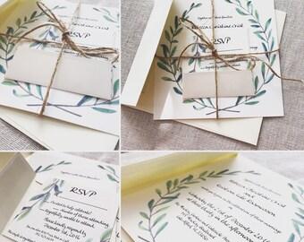 Laurel Wreath Wedding Invitation & RSVP - PRINTED - DIY Print Options