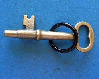 Antique Brass Skeleton key, Trick Key. Old & Original.