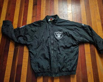 Vintage 90s Oakland Raiders Full Zip Insulated Jacket Apex One Black Silver Large