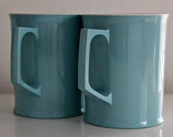 Pair of Powder Blue Melaware Cups / Mugs