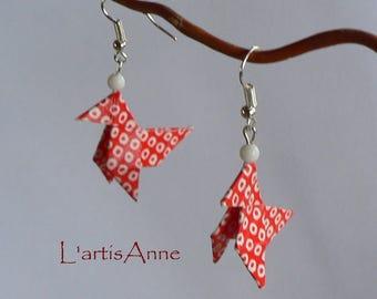 Boucles d'oreilles Origami Cocottes Rouge et Ronds Blancs.