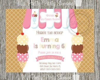 Ice Cream / Ice Cream Shoppe / Ice Cream Cone / Ice Cream Social Birthday Party Invitation