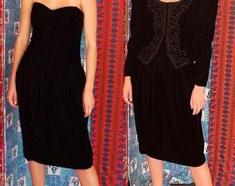 Velvet Dress Velvet Sequin Dress 80s Farinae Beaded Velvet Dress Suit