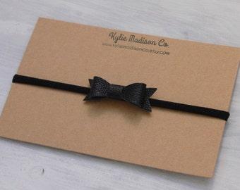 black petite faux leather bow headband, baby headband, nylon headband