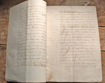 Vintage antique French 17th century parchment (real animal skin) document  12pages  / 17th century hand written letter