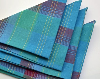 Napkins Turquoise Cotton Red Gold Stripes Set of 4