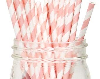 Big Pack 80 Light Pink Stripe Paper Drinking Straws - Wedding - Birthday - Celebration & Party Supplies