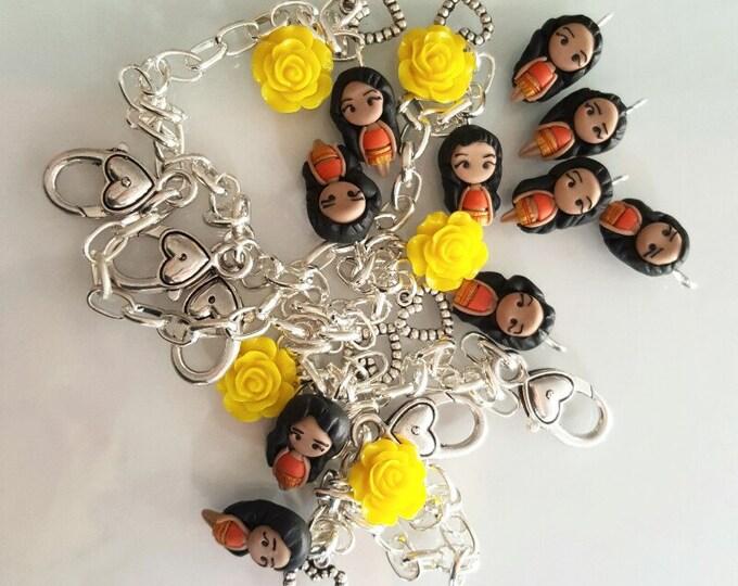 Princess Moana ,disney inspired bracelet with flower,Disney Princesses inspired. Disney Keyring Disney jewelry. Clay charm. Oceania inspired