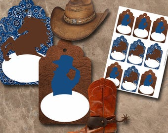 Cowboy Name Tags Instant Download Printable Name Tags