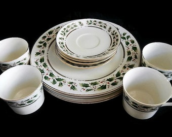 Vintage Holly Holiday 12pc Dinnerware Set -4 place settings,Christmas pattern,1994 -china, plates,dishes, saucers,teacups, mugs,entertaining