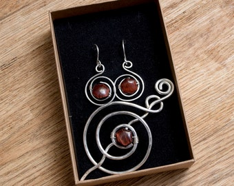 Silver shawl pin and earrings.Tiger eye brooch silver scarf ,Silver Jewelry,Knitting Accessories,Gift for women
