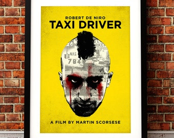 Taxi Driver poster art, Taxi Driver print, film print, Taxi Driver movie art, Robert De Niro, Taxi Driver, film poster, Martin Scrosese