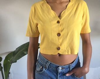 Yellow Scalloped Crop Top
