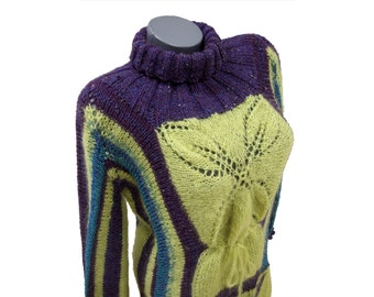 Turtleneck sweater in yellow and purple, High neck knitwear, Thick warm pullover sweater, Handknit turtleneck sweater jumper