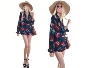plunge shirt plunge blouse rose print floral shirt boho shirt 90s grunge shirt hippie clothes hipster clothing womens shirts womens clothing