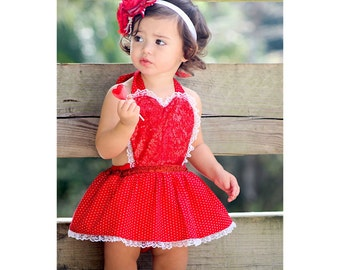 Sequins, polka dots and lace Valentine's day romper with skirt