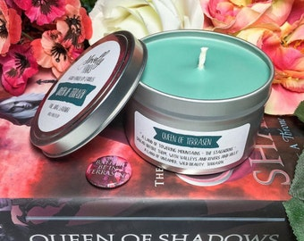 Queen of Terrasen |  8oz tin | Throne of Glass, Queen of Shadows inspred soy candle