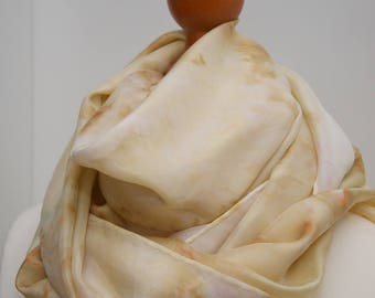 Beige spring inspiration, hand-painted silk scarf, free shipping