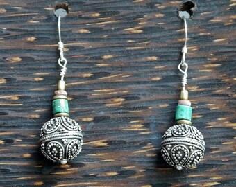 LIQUIDATION SALE!...Sterling Silver Balinese Dangle Earrings