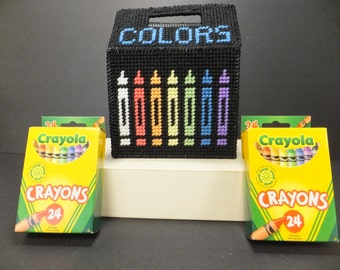 Plastic Canvas Colorful Crayon Caddie with 2 New Boxes of Crayola 24pk Crayons