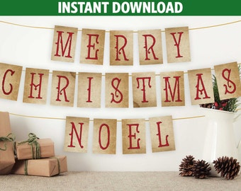 Vintage Merry Christmas Banner | Noel Banner | Fixer Upper Decor | Merry Christmas Bunting | Christmas Bunting | Download PDF | DIY 4x6""