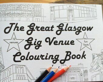 Glasgow Gig Venue A5 Colouring  Book - Architecture Music Fan Gift, Scottish Gifts, Records Collectors, Bands, Live Music