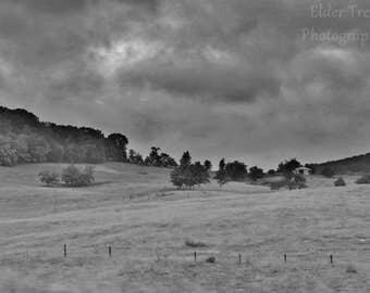 Misty Hill (Black & White) Instant Photo Download, Insta-Photo, Landscape Photography, Black and White, B/W, Shenandoah, Virginia, Mist