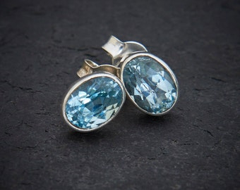 Blue Topaz Earrings, Silver Studs, November Birthstone, Birthstone Earrings, Gemstone Jewellery