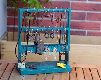 Rustic Home Decor, Gift for Mom, New Home Gift, Jewellery Storage,Teen Girl Gift,Jewelry Stand,Wooden Jewelry Holder,Turquoise Bedroom Decor
