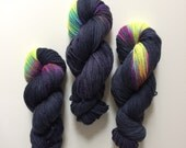 Hand dyed Aran Nebula yarn in British Blue Faced Leicester and Baby Alpaca 100g ethically sourced.
