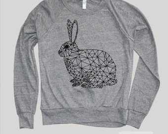 Womens Geometric BUNNY RABBIT Sweatshirt Sweater )Raglan Sweatshirt,Animal-Womens Clothing-Yoga Clothes,Tumblr Sweater-Birthday Gift Gifts