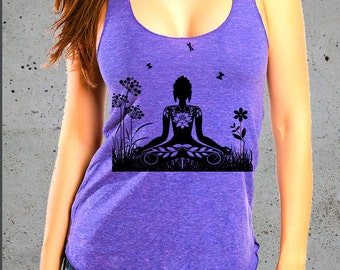 Yoga Shirt-Womens ZEN BUDDHA Meditation T Shirt)Yoga Clothes,Workout Tank,Yoga Tank Top-,Womens Graphic Tee-Birthday Gift Gifts,instagram