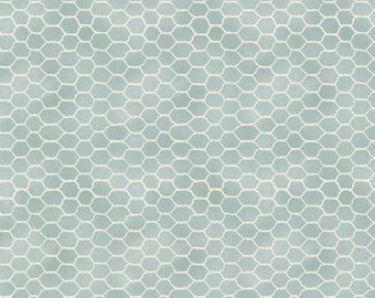 Early To Rise Grey Blue Chicken Wire Fabric - Danhui Nai - Wilmington Prints - by the half yard - 100% Cotton