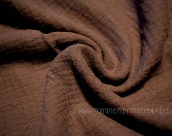 Muslin gauze fabric double gauze 100% cotton, Brown