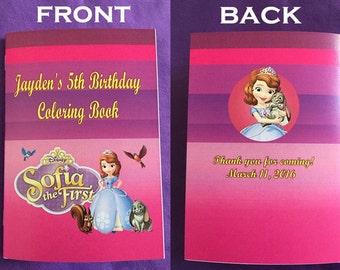 12 Personalized Sofia The First Coloring Books, Party Favors