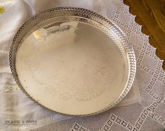 Vintage Silver plated engraved gallery tray, large serving tray,English, kitchen and dining,shabby chic,classical table setting, charming