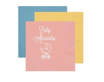 Baby Shower Napkins, Personalized Shower Napkins, Foil Stamped Baby Shower  Napkins