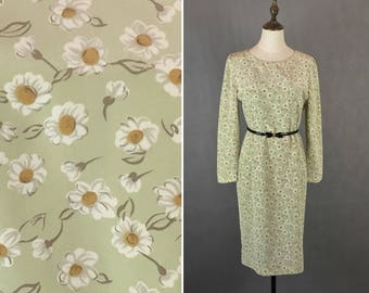 50% OFF FLASH SALE / Vintage Japanese Daisy Flower Dress / Floral Day Dress / Party Dress / Garden Dress / Made in Japan / Size Small Medium