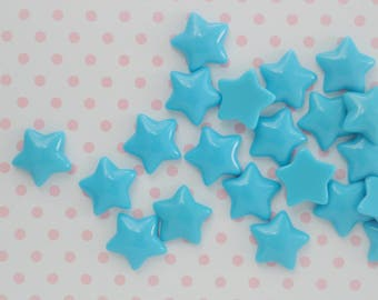 17mm Kawaii Blue Star Decoden Cabochons - 12 piece set